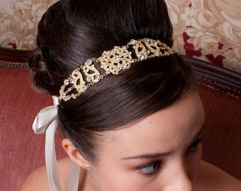 Antoinette - Gold Clear Crystals Rhinestones Headpiece with a Vintage Flair