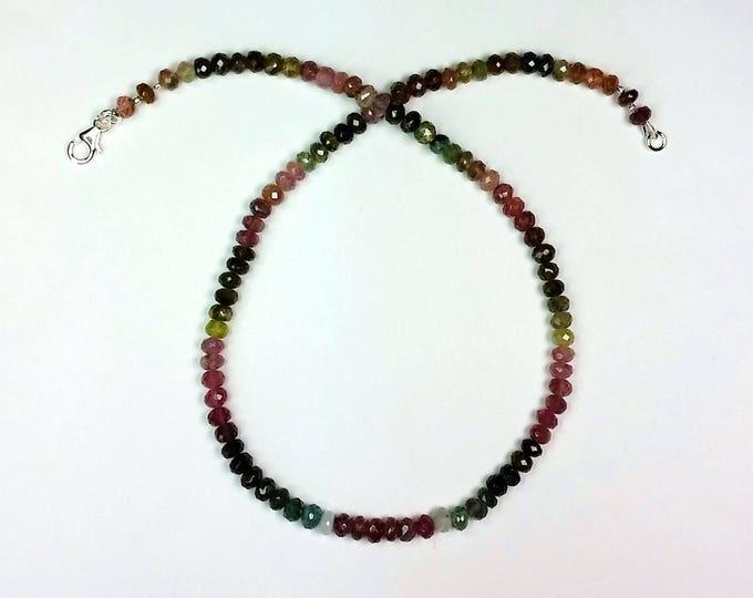 Rainbow Tourmaline Necklace - Multicolor Necklace - Symmetrical Pattern Jewelry - Semiprecious Jewelry - Understated Beauty