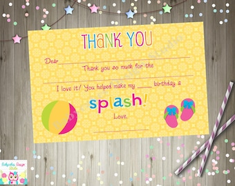 Pool Party Thank You Card, Thank You Note Printable Instant Download