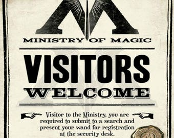Harry Potter Print Ministry of Magic Visitors Welcome Sign Wall Art Decor Hogwarts