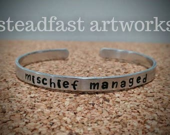 Harry Potter Marauders Map - I solemnly swear and mischief managed Quote Cuff Bracelets - Silver colored