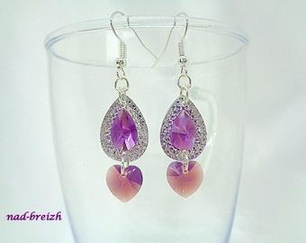 Fancy purple and silver rhinestone resin drop + Crystal Swarovski Cyclamen opal heart - handmade