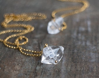 Crystal Necklace, Herkimer Diamond, Gift for Her, Boho Jewelry, Birthday Gift, Birthstone Necklace, Raw Stone Jewelry, Dainty Necklace