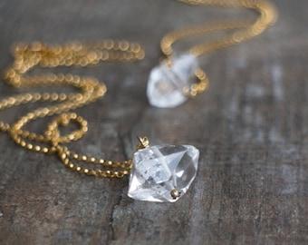 Crystal Necklace, Herkimer Diamond, Gift for Her, Boho Jewelry, Birthday Gift, Birthstone Necklace, Raw Stone Jewelry, Dainty Necklace