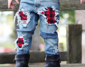 Paul B Unisex Skinnies - baby , toddler , kids - (Sizes 6m-12y) patched denim , kids jeans , girls , boys trendy distressed pants / clothes
