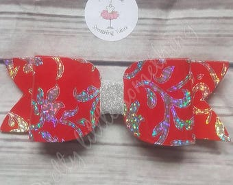 Red and silver bow on a crocodile clip, hair accessories, hair clip, red bow