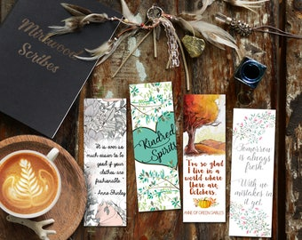 Printable Anne of Green Gables Bookmarks | A World Where we Have Octobers |  Kindred Spirits | No Mistakes Yet