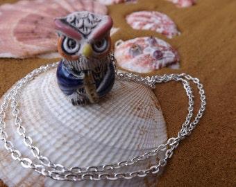 Owl pendant, bird pendant, bird jewellery, animal pendant, animal jewellery, owl jewellery, ceramic pendant