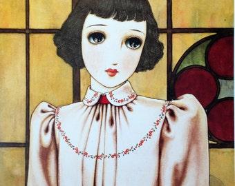 1960s JUNICHI NAKAHARA Big Eyed Girl Doublesided Print Perfect for Framing