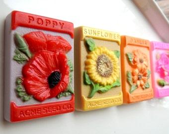 Flower Seed Soaps, Seed Packet Flower Soap, Set of 2, Poppy, Sunflower, Dahlia, Sweet Pea Soaps