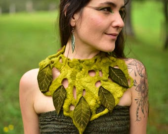 Felt Necklace-Neck Piece-Leaf Choker-Woodland Costume-Fairy Necklace-Felt Leaf Adornment-Wearable Art-OOAK