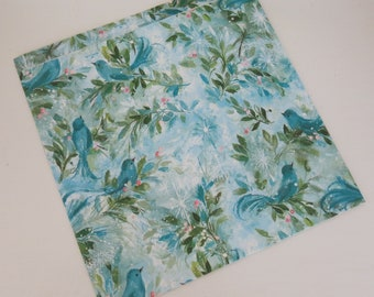 Vintage Hallmark Mid-Century CHRISTMAS Gift Wrap - Wrapping Paper - Blue BIRDS and HOLLY - with coordinating gift card - 1960s