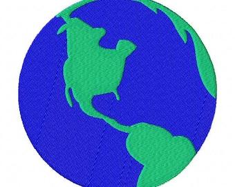 World globe map machine embroidery design