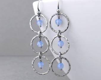 Light Blue Earrings Blue Crystal Earrings Silver Circle Earrings Silver Drop Earrings Long Beaded Earrings Modern Jewelry - Adorned Aria