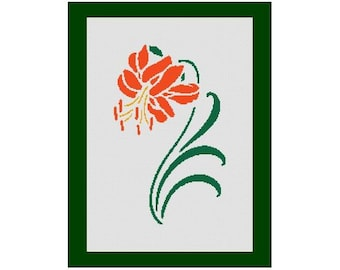 Lily Flower Silhouette Counted Cross Stitch Pattern in PDF for Instant Download