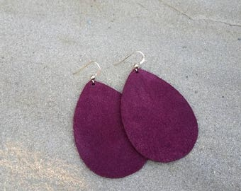 Plum Suede, Leather Earrings, Purple Suede, Teardrop Earrings, Boho Chic, Boho Earrings, Boho Jewelry, Suede Earrings, Lightweight Earrings