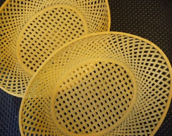 Very Kitschy Set of 2 Yellow Wicker Weave Plastic Baskets