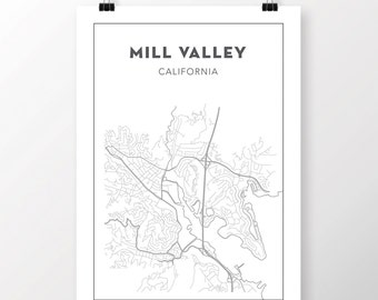 FREE SHIPPING to the U.S!! Mill Valley Map Print