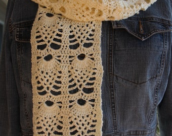 Pineapple Creme Lightweight Lace Scarf Crochet Pattern