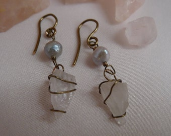 Raw rose quartz and fresh water pearl dangle earrings* quartz and pearl danglies* bronze wrapped rose quartz, and pearl earrings* handmade