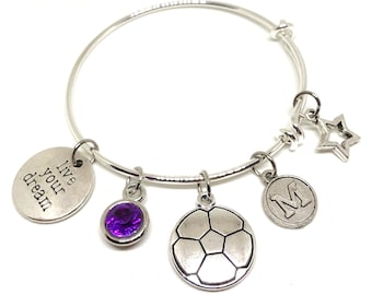 PERSONALIZED CHILD Soccer Bracelet, Live Your Dream Charm Bracelet, Soccer Jewelry, Soccer Gift, Soccer Necklace, Soccer Award, Soccer Gifts
