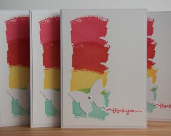 5 Butterfly Thank You Cards, Handmade.  Rainbow Thank You Cards.  Blank Thank You Greeting Cards.