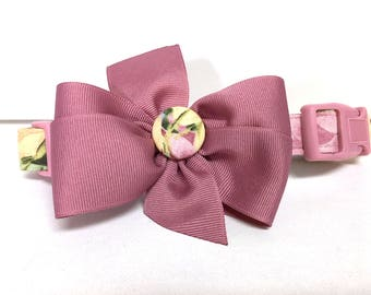 Dog Collar- The Spring Mauve- Collar with removable bow