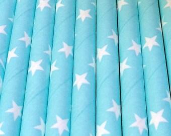 25 lichtblauw met witte sterren papieren rietjes - Space - Party Decor drinken levert tafelgerei