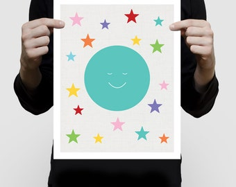 moon print artwork with colourful stars for kids room, nursery art, baby girl or boy gender neutral wall art, multi-colored turquoise bright