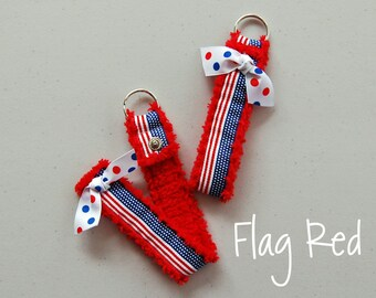 SALE! Chenille Flag Snap Key Ring
