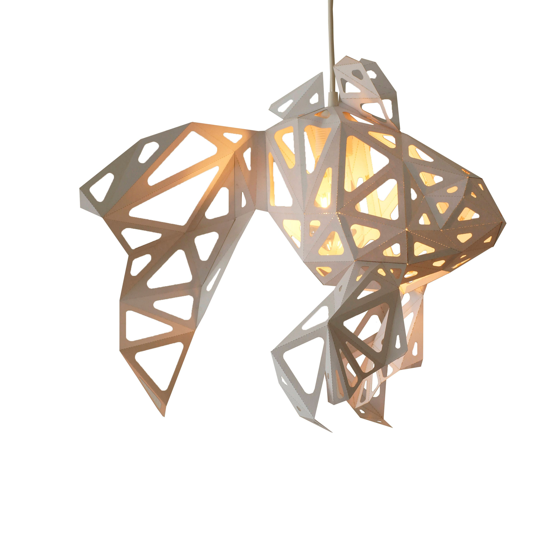 Fish low poly papercraft nature lover gift origami lamp diy for Diy Geometric Lamp  45ifm