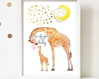 Mummy and baby giraffe nursery print A4