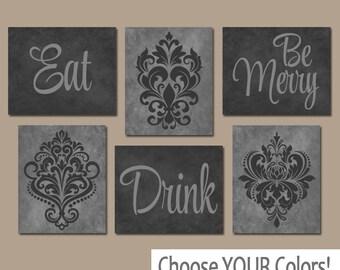 grey and white kitchen decor. EAT DRINK be Merry Wall Art  CANVAS or Prints Black Gray Kitchen Decor kitchen decor Etsy