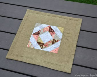 Green and floral modern quilted table topper, table mat, table decor home decor, roses decor, blue cream green pink. Pastel table runner UK