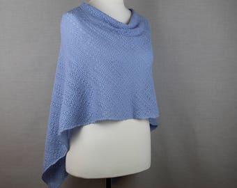 Light blue wool poncho, Merino wool poncho, Knit poncho, Lightweight poncho, Wool knit poncho, Womens knitted poncho