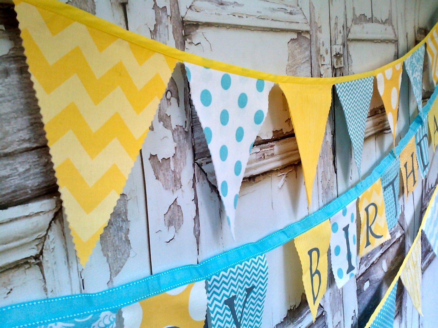 Fabric Bunting Party Banner Flags Birthday Banner Decor Yellow