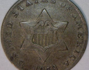 1853 Three Cent Silver; XF; Original