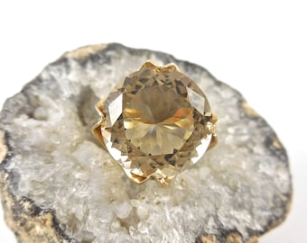 Ring Smokey Quartz Mid Century Modern 14 K Yellow Gold Ring