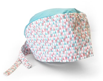 Fabric green and pink geometric pattern with blue top Cap