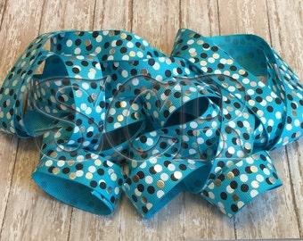 Polka Dot Ribbon, Turquoise Blue Grosgrain Ribbon, 7/8 printed ribbon, diy craft , hairbow supply, Ribbon banner, scrapbook supply, Foil dot