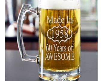 50th Birthday for Him, 60th Birthday Him, 40th Birthday for Him, Birthday Beer Glass, Birthday, 70th Birthday, 80th Birthday, Dad Birthday