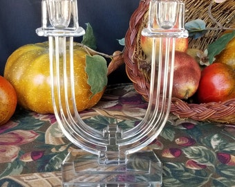 Holiday Sale. Pair Heisey Crystal Double Light Candelabras, Crystal Candelabras 1935 to 1955, New Era Pattern Number 4044, Fine Dining