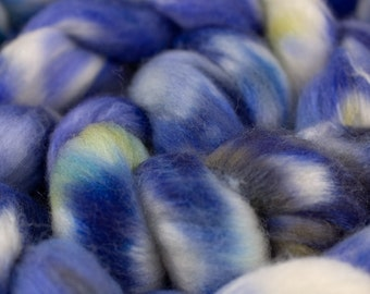 Johnny Jump-Up Merino/tussah silk blend.  4oz Hand Dyed Combed Top.