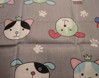 fabric coupon, 40cmx50cm, child motif, on gray background, stitching, patchwork