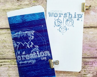 Traveler's Notebook Insert Midori Inserts Fauxdori Dori Map Worship Sing blue print Art Journal Prayer Book Blank globe globes christian