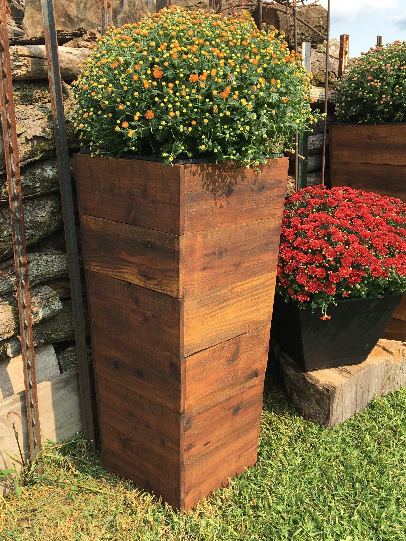 30 Tall Cedar Wood Rustic Planter Box Mocha