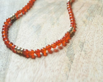 Amber and Gold Tone Beaded Necklace