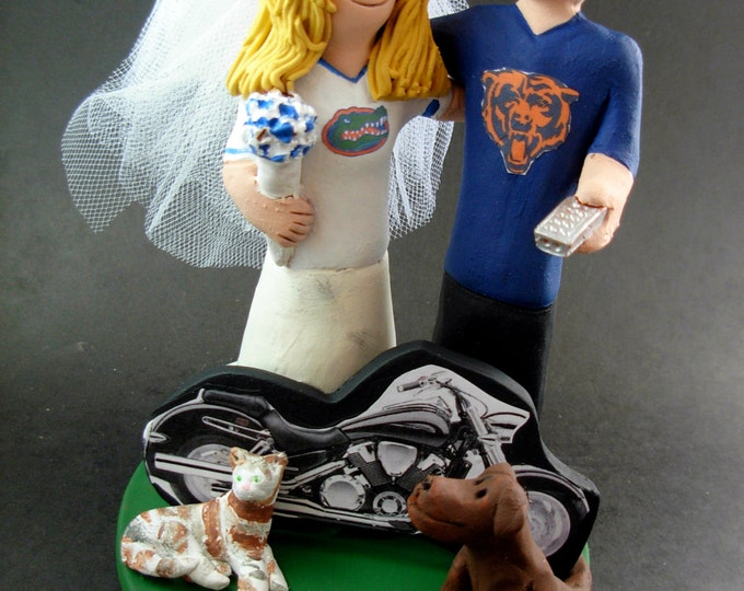 Chicago Bears Wedding Cake Topper, Florida Gators Wedding Cake Topper, Chicago Bears Wedding Anniversary Gift, Florida Gators Wedding Gift