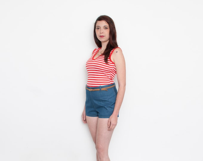 FREE SHIPPING for multiple purchase Red and white striped sleeves tank NOS vintage size S to L