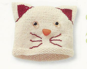 Kit to knit a white cat baby Beanie